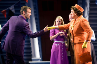 Rachel Izen as Felicia Gabriel with Marti Pellow as Darryl van Horne in The Witches of Eastick